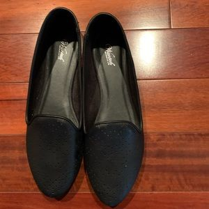 Black leather comfortable flats. Never worn!
